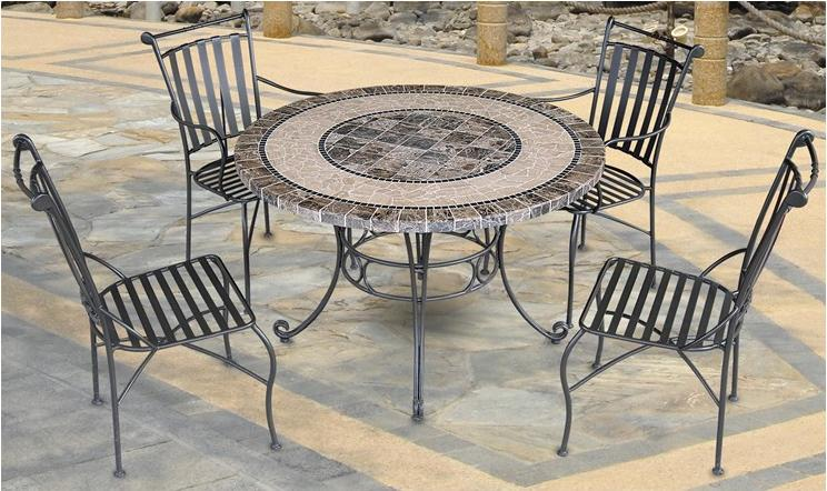 Salon de jardin table ronde en fer forge for Mobilier de jardin en fer forge