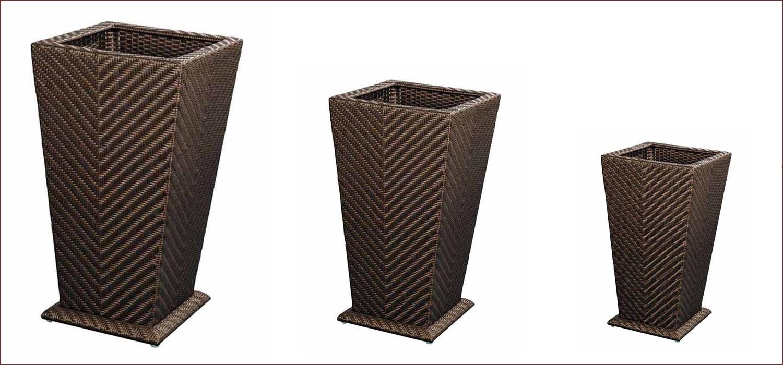Cache pot en r sine tress e carr 30x30cm for Pots en resine jardin