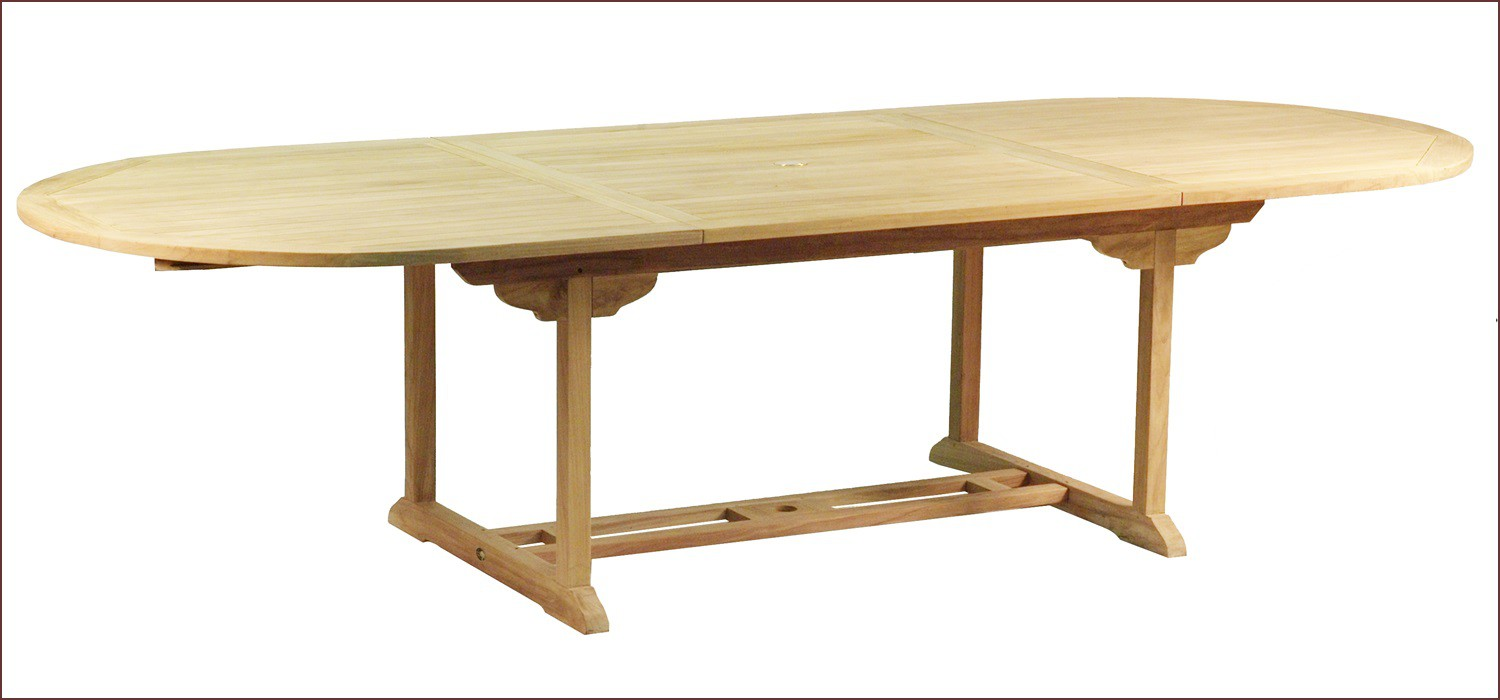 Table en teck ovale extensible bora bora for Table ronde 6 personnes