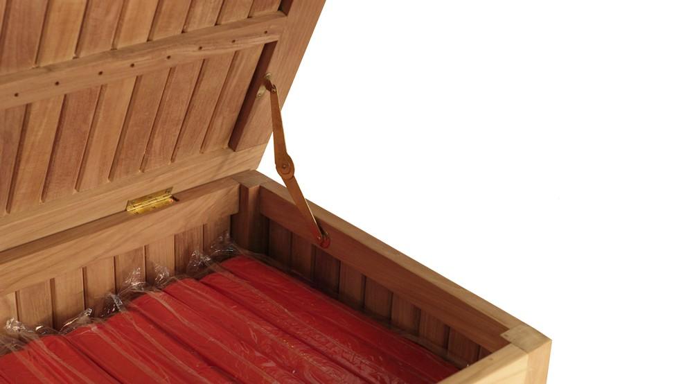 Coffre coussins en teck bualu grade a - Nettoyer meuble en bois naturellement ...