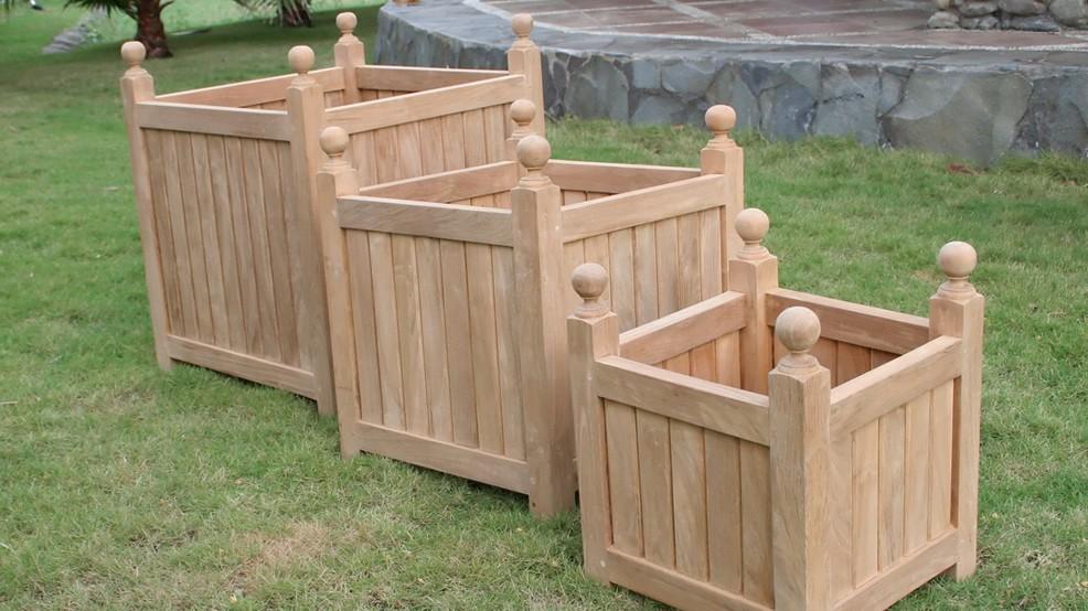 jardini re en teck 45x45x55cm. Black Bedroom Furniture Sets. Home Design Ideas